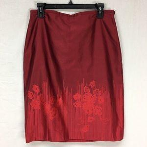 Banana Republic Red Floral Print Pencil Skirt